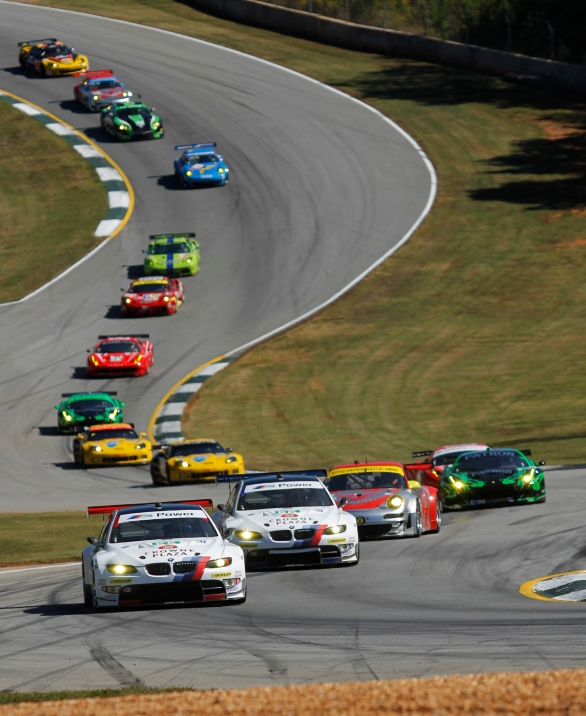 Cars come down and around Turn 5 in the first few laps of Petit Le mans at Road Atlanta, in Braselton, Ga., on Saturday, October 1, 2011. (© Sarah Osbourne, Sarahkoz2@gmail.com)