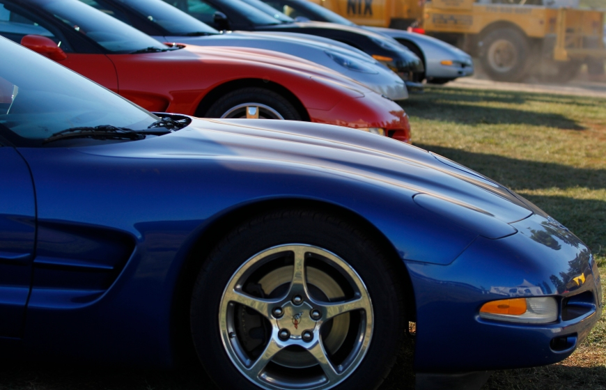 Corvettes lined up at the Corvette corral at Petit Le Mans at Road Atlanta, in Braselton, Ga., on Saturday, October 1, 2011. Hundreds of Corvettes, Porsches, and BMWs, were showcased in corrals in the interior of the track at Road Atlanta. (© Sarah Osbourne, Sarahkoz2@gmail.com)