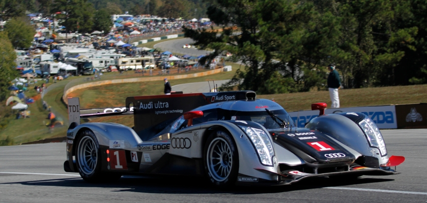 Audi, car No. 1, comes around Turn 5 at Petit Le Mans in Braselton, Ga., on Saturday, October 1, 2011. The Petit Le Mans race hosts driving teams from around the world and continues throughout the day until the race reaches 10 hours or 1000 miles, whichever comes first. (© Sarah Osbourne, Sarahkoz2@gmail.com)