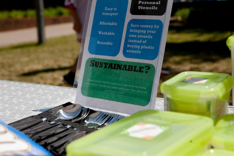 Detail of sustainable tailgating materials at the Go Green G-Day tailgate on Saturday, April 14th, at the Tate Plaza in Athens, Ga. Students put on the event for a recreation and leisure studies class, in an attempt to bring awareness to sustainable tailgating options.( © Sarah Osbourne, Sarahkosbourne@gmail.com).